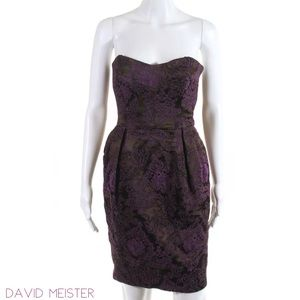 DAVID MEISTER BrownMagenta Embroid Strapless Dress